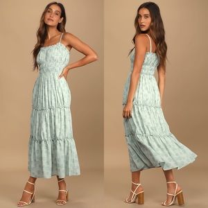 NWT Lulus Bloom Sweetly Sage Green Tier Maxi Dress